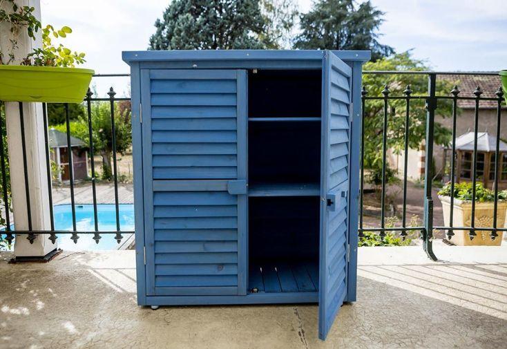 Armoire de Jardin en Bois Lasuré Bleu 87 x 46,5 x 95 cm