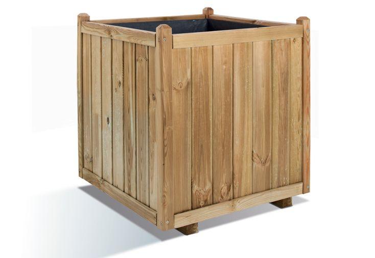 jardinière en cube Vendôme 70 maxi volume bois de pin FSC jardipolys