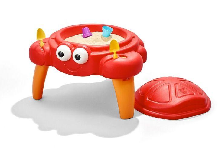 bac à sable crabe rouge sur pieds table enfant 18 mois