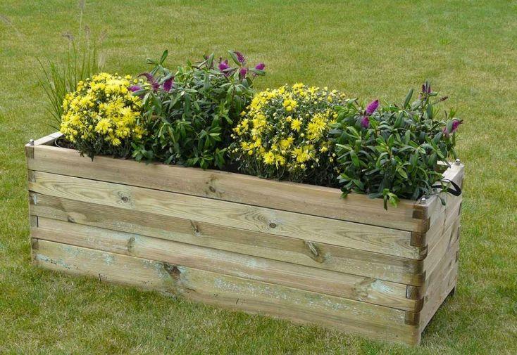 bac à fleurs en bois traité autoclave 150 cm grande jardinière pour terrasse