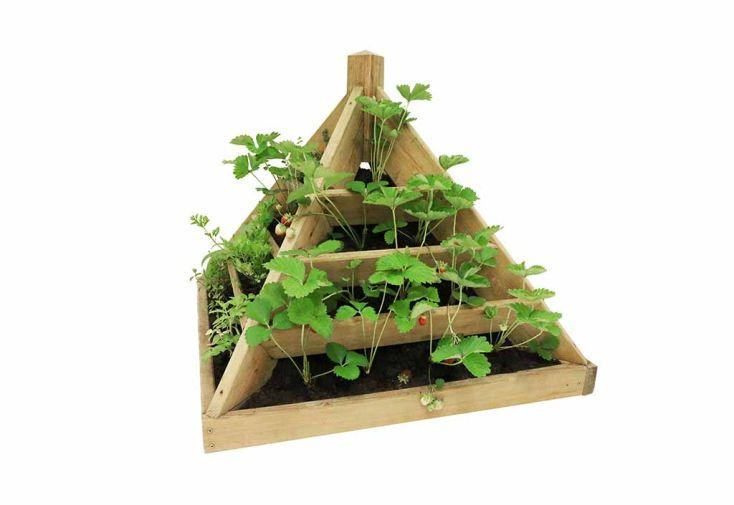 Bac à fleurs en bois de pin traité jardinière pyramide Jardipolys