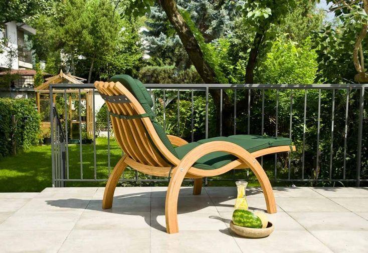chaise longue en bois pour le jardin traité autoclave avec coussin