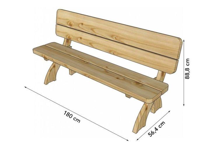 banc de jardin avec dossier en bois autoclave 180 cm 45 mm solid. Black Bedroom Furniture Sets. Home Design Ideas