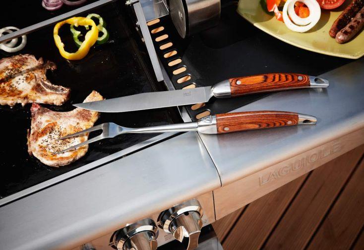 Barbecue Gaz Laguiole 5 Brûleurs + Rotisserie + Réchaud + Housse