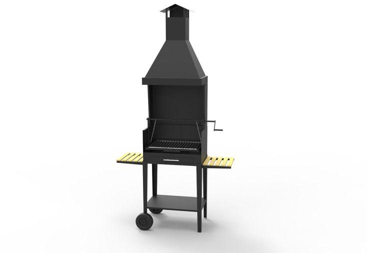 Barbecue au Charbon de Bois sur Chariot Acier 55 x 40 cm
