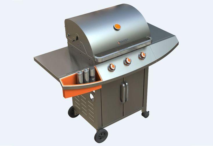 Barbecue Gaz en Inox et Acier 3 Brûleurs 11,4 kW Céleste 3