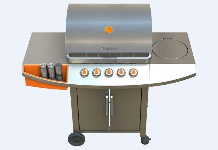 Barbecue Gaz en Inox et Acier 5 Brûleurs 19,1 kW Céleste 5