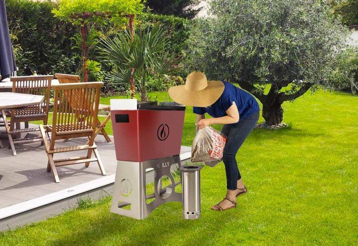 Barbecue Plancha à Granulés de Bois Grilly Rouge