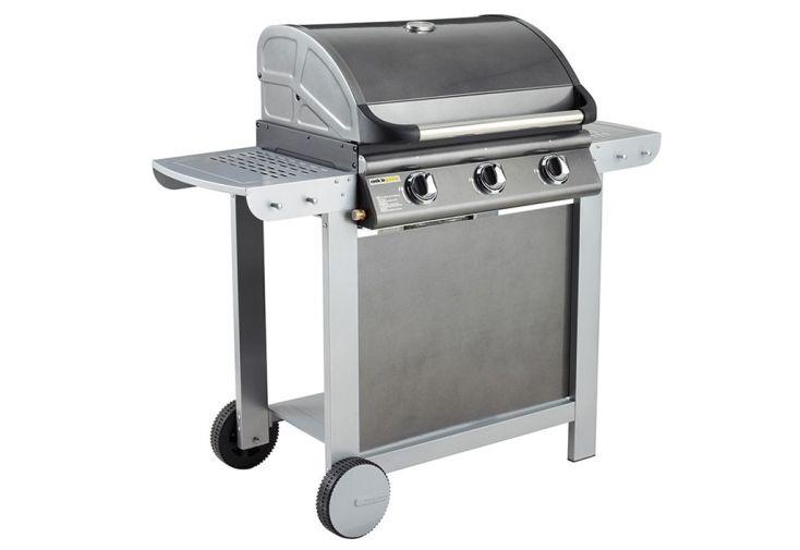 barbecue américain fiesta 3 brûleurs à gaz monté sur chariot avec tablettes