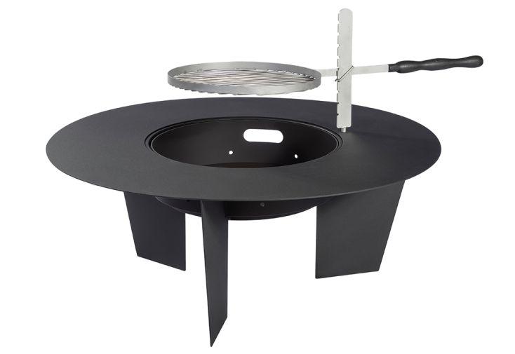 Braséro en acier peint en noir avec grille de cuisson