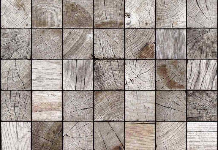 Brise Vue Décoratif en Polyester Carré Bois au m²