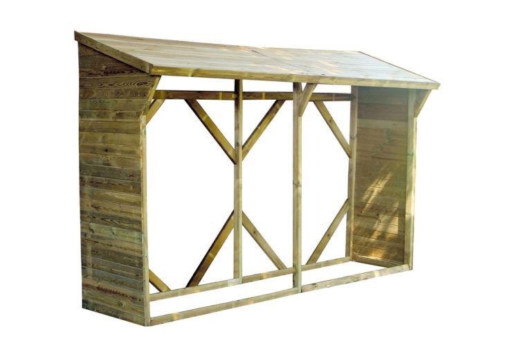 Bûcher en bois traité autoclave classe 3 capacité stockage 4 m³