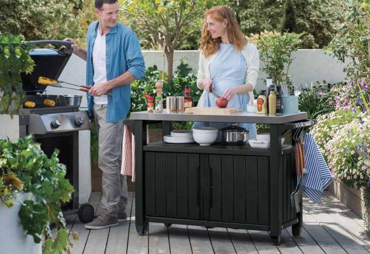 Buffet Extérieur Résine pour Barbecue et Plancha (123x54x90)