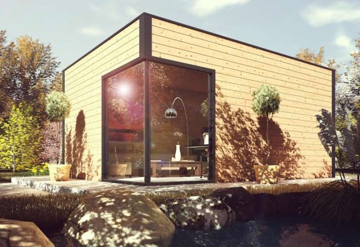 Bungalow Studio 5,62x4m en Douglas avec Baie à Galandage Livré Monté