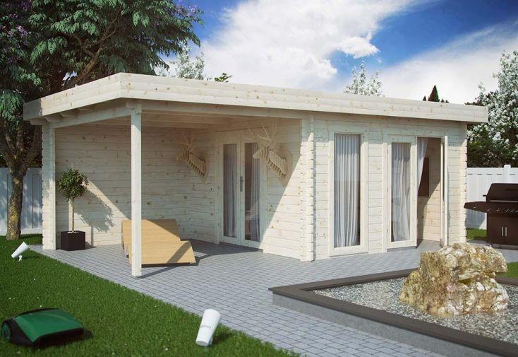 grand bungalow de jardin en bois nordique à toit plat avec carport