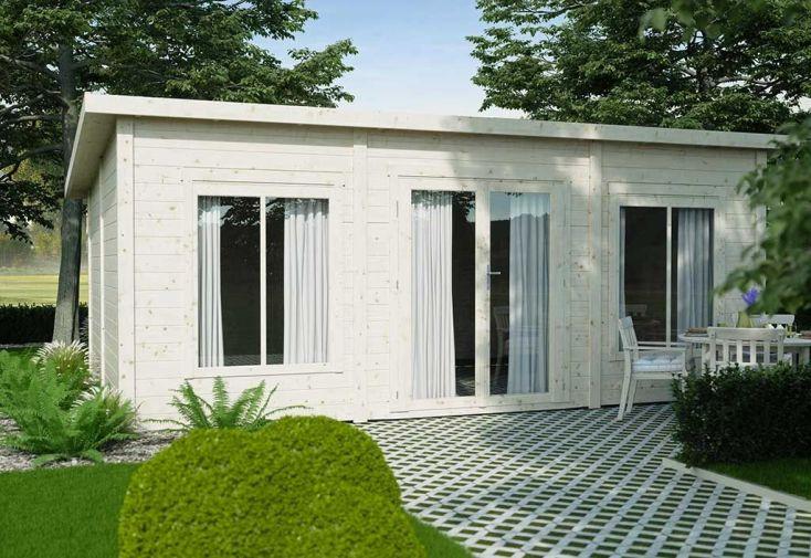 chalet de jardin 24 mètres carrés en pins finlandais avec toit en pente