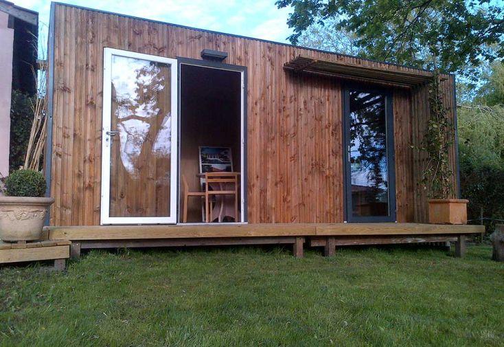 bungalow studio en bois trait et isol 6x2 5m studio jardin. Black Bedroom Furniture Sets. Home Design Ideas