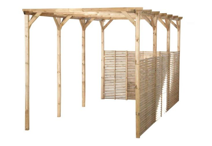 Carport bois boris 3x6 1 carport 1 voiture sans couverture madeira for Piscine 3x6 prix