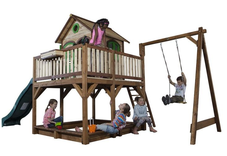 aire de jeux en bois FSC naturellement imputrescible dès 3 ans