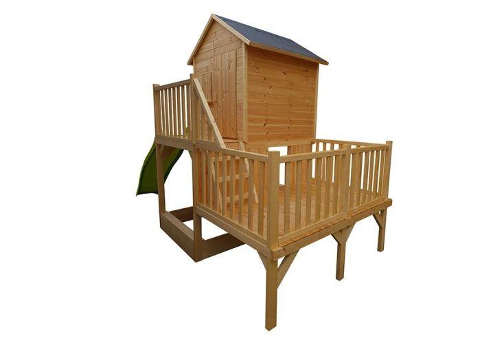 cabane d'enfant en bois brut 2 plateformes avec toboggan et bac à sable