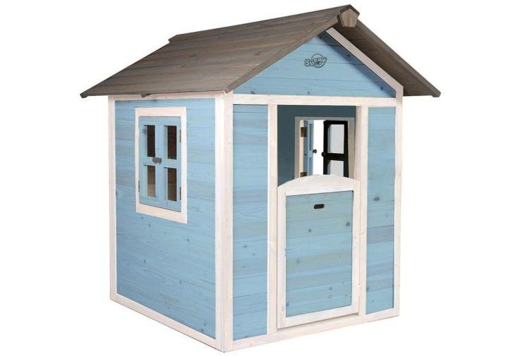 cabane en bois pour enfant maisonnette bleue en cèdre tropical