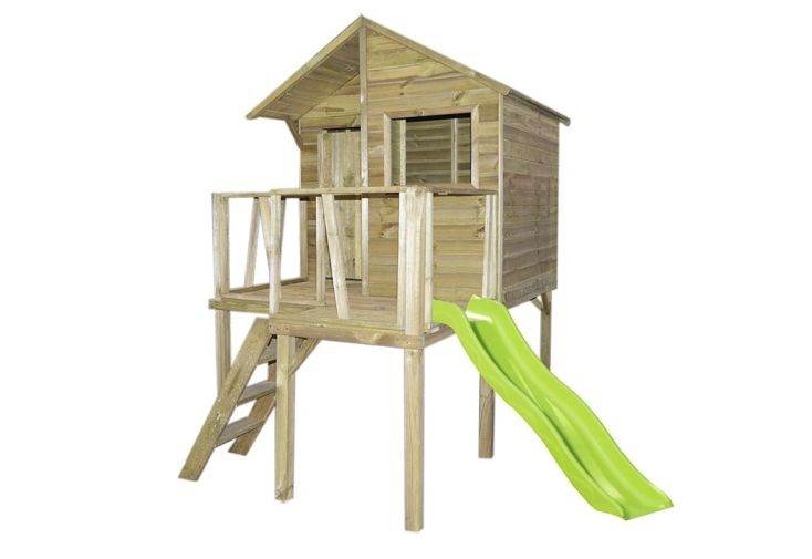 Cabane maison d'enfant en bois traité autoclave avec toboggan