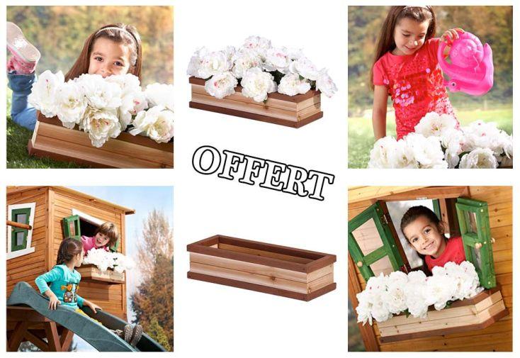 Maison Enfant Bois Alex + Bac à Fleurs Offert