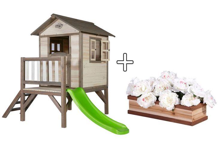 Maison pour Enfant Bois Lodge XL + Bac à Fleurs Offert