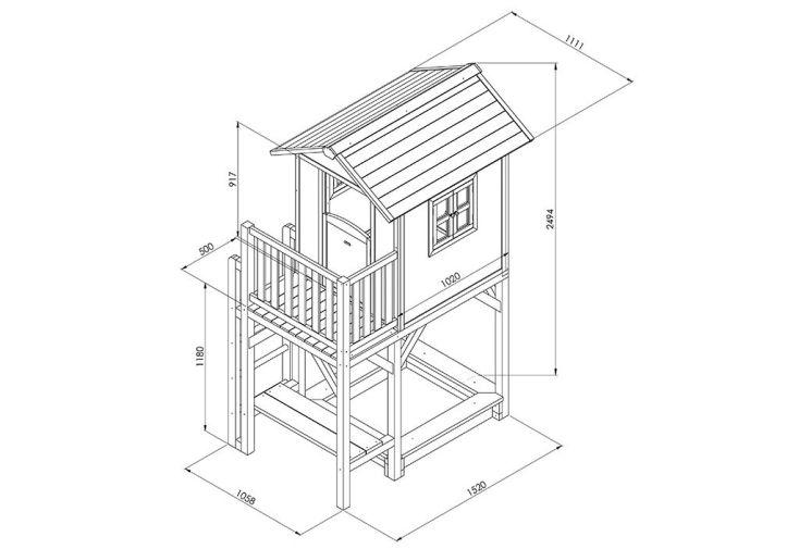 Maison pour enfant bois lodge xxl plus color e sunny for Plan de maison pour enfant
