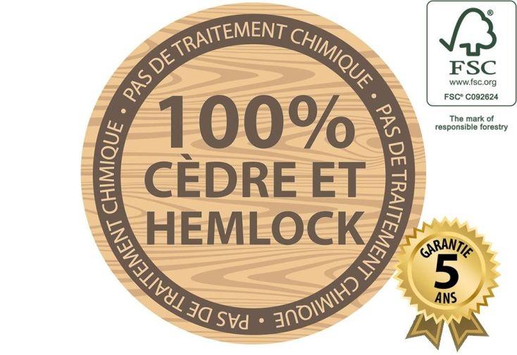 cabane en cèdre tropical et pilotis en hemlock certifié FSC imputrescible et garanti 5 ans