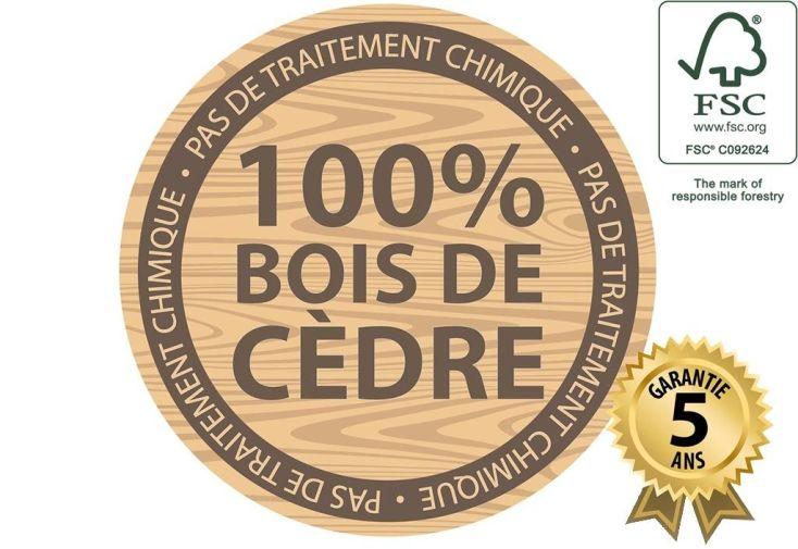 cabane en bois de cèdre tropical certifié FSC et garanti 5 ans