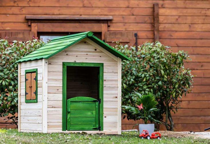 maison d'enfant en bois FSC verte et marron porte saloon