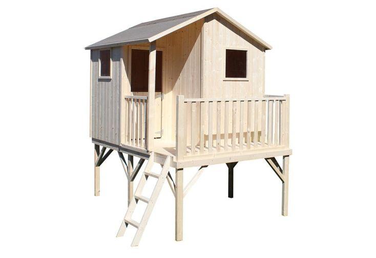 maison d'enfant en bois brut montée sur pilotis Tiphaine Soulet