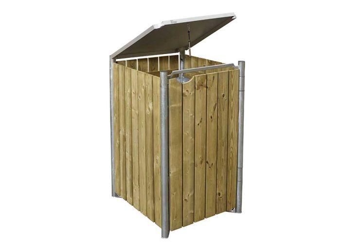 Cache-poubelle simple en acier et bois de pin traité finition bois naturel