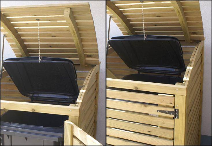 cache poubelle simple en pin autoclave swing e 88x75x137cm gardival. Black Bedroom Furniture Sets. Home Design Ideas