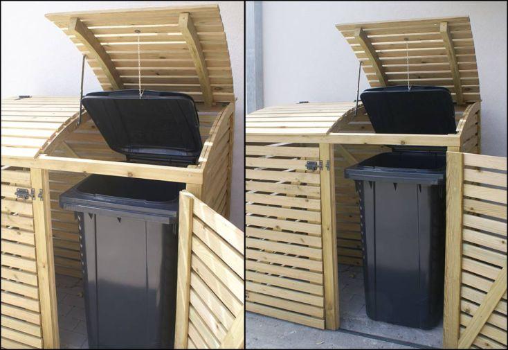 Cache poubelle double en pin autoclave swing d - Cacher poubelles exterieures ...