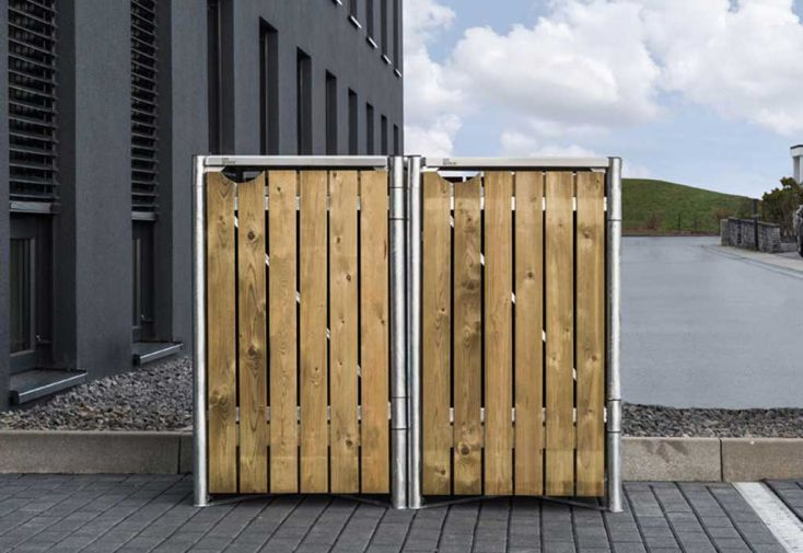 Cache-poubelle double en acier et bois de pin traité Hide