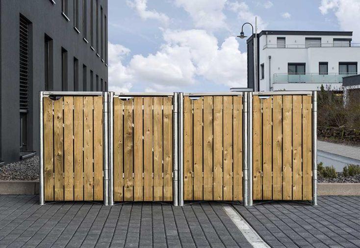 Cache-poubelles en acier et bois de pin traité finition bois naturel