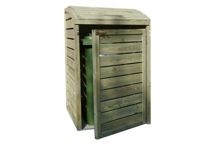 Cache-poubelle simple en bois de pin traité abri poubelle Solid