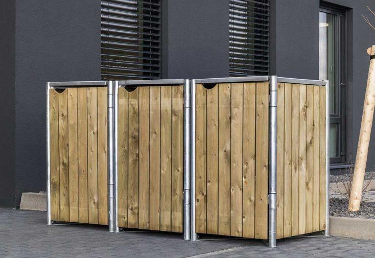 Cache-poubelle triple en acier et bois de pin traité naturel Hide