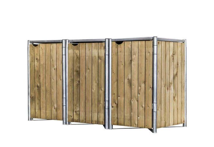 Cache-poubelle triple en acier et bois de pin traité Hide