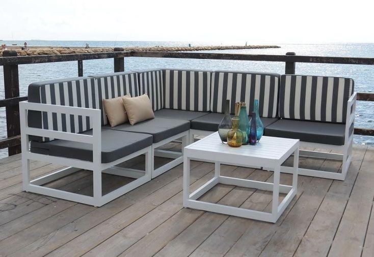 Canapé d\'Angle Extérieur avec Coussins et Table Basse en Aluminium ...