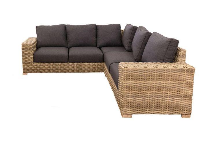 Canapé d'angle de jardin Saba rotin et aluminium