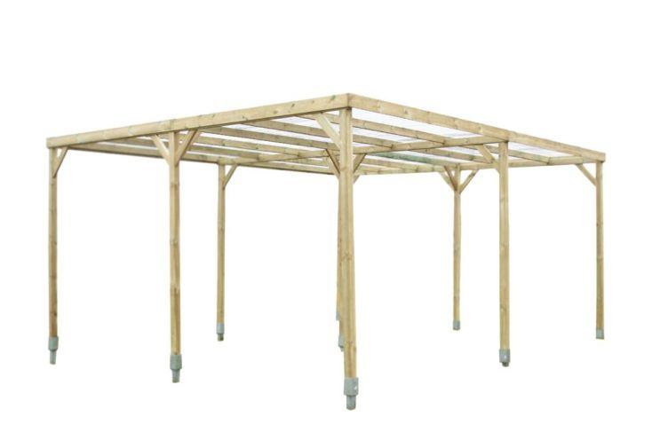 carport bois autoclave 2 voitures toit plat pvc habrita. Black Bedroom Furniture Sets. Home Design Ideas