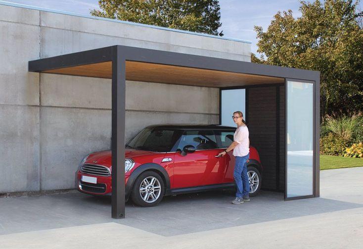 Carport en aluminium 14 m² avec parois bois composite et verre