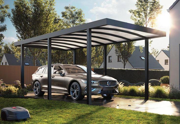 Carport autoportant en aluminium noir avec toiture polycarbonate