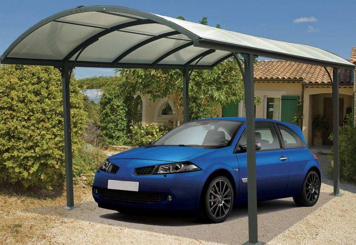 Carport Design en Aluminium à Toit Rond en Polycarbonate 305x485x250