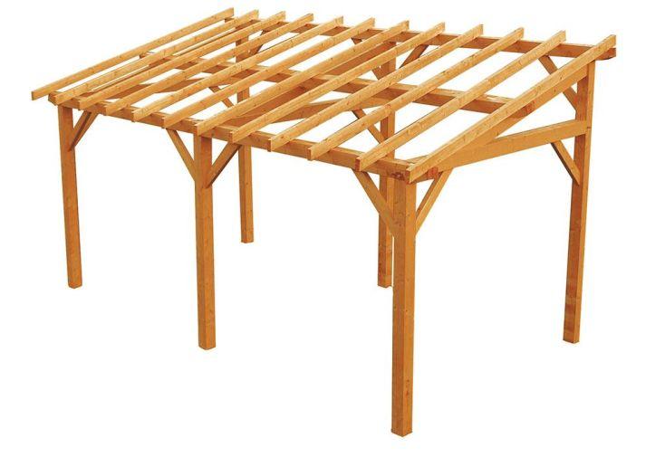 Carport Bois Monopente 540x284x301cm (Traité en option)