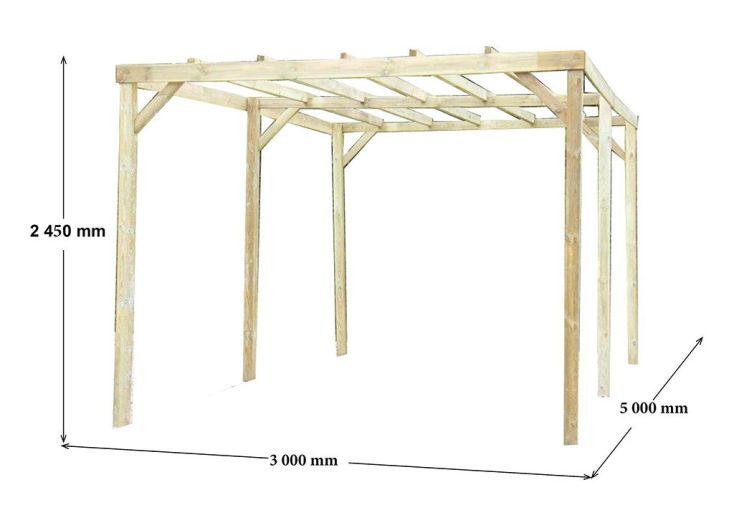 Carport Bois Traité Toit Plat 3x5m