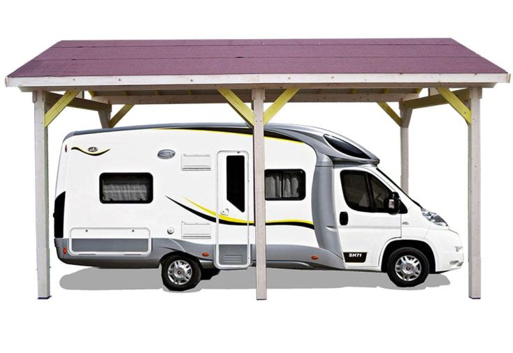 Carport Bois Contrecollé Double Pente 30° 3,5x6m Spécial Camping-Car